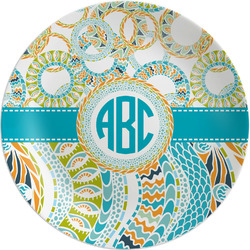 Teal Circles & Stripes Melamine Plate (Personalized)