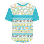Teal Circles & Stripes Men's Crew T-Shirt (Personalized)