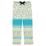 Teal Circles & Stripes Mens Pajama Pants (Personalized)