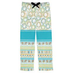 Teal Circles & Stripes Mens Pajama Pants (Personalized)