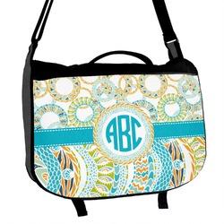Teal Circles & Stripes Messenger Bag (Personalized)