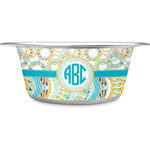 Teal Circles & Stripes Stainless Steel Dog Bowl (Personalized)