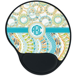 Teal Circles & Stripes Mouse Pad with Wrist Support