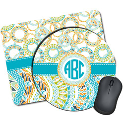 Teal Circles & Stripes Mouse Pads (Personalized)
