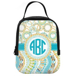 Teal Circles & Stripes Neoprene Lunch Tote (Personalized)