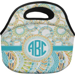 Teal Circles & Stripes Lunch Bag (Personalized)