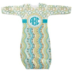 Teal Circles & Stripes Newborn Gown (Personalized)