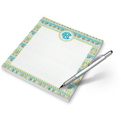 Teal Circles & Stripes Notepad (Personalized)