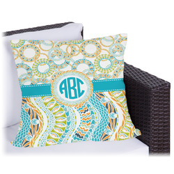 Teal Circles & Stripes Outdoor Pillow (Personalized)