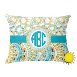 Teal Circles & Stripes Outdoor Throw Pillow (Rectangular) (Personalized)