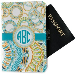 Teal Circles & Stripes Passport Holder - Fabric (Personalized)
