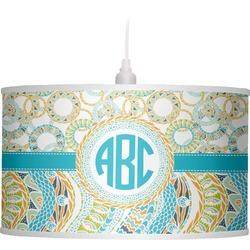 Teal Circles & Stripes Drum Pendant Lamp (Personalized)