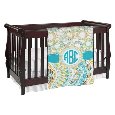 Teal Circles & Stripes Baby Blanket (Personalized)