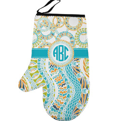 Teal Circles & Stripes Left Oven Mitt (Personalized)