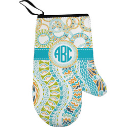 Teal Circles & Stripes Oven Mitt (Personalized)