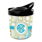 Teal Circles & Stripes Plastic Ice Bucket (Personalized)