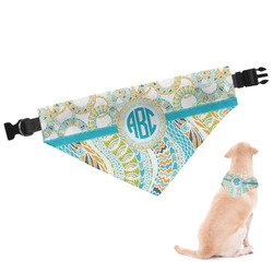 Teal Circles & Stripes Dog Bandana - Large (Personalized)