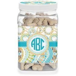 Teal Circles & Stripes Pet Treat Jar (Personalized)