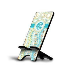 Teal Circles & Stripes Phone Stand (Personalized)