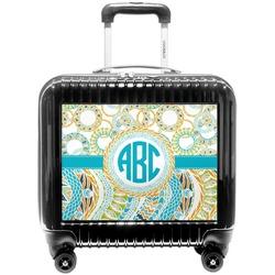 Teal Circles & Stripes Pilot / Flight Suitcase (Personalized)