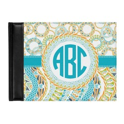 Teal Circles & Stripes Genuine Leather Guest Book (Personalized)