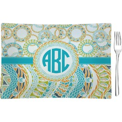 Teal Circles & Stripes Rectangular Glass Appetizer / Dessert Plate - Single or Set (Personalized)