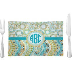Teal Circles & Stripes Rectangular Glass Lunch / Dinner Plate - Single or Set (Personalized)