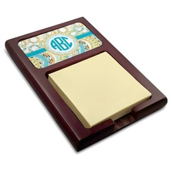 Teal Circles & Stripes Red Mahogany Sticky Note Holder (Personalized)
