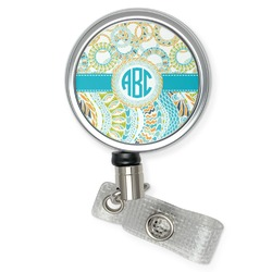 Teal Circles & Stripes Retractable Badge Reel (Personalized)