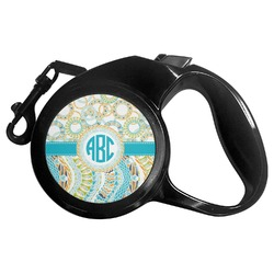 Teal Circles & Stripes Retractable Dog Leash (Personalized)