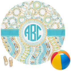 Teal Circles & Stripes Round Beach Towel (Personalized)