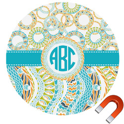 Teal Circles & Stripes Round Car Magnet (Personalized)