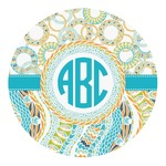 Teal Circles & Stripes Round Decal (Personalized)
