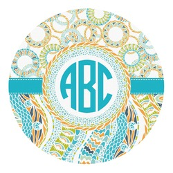 Teal Circles & Stripes Round Decal - Small (Personalized)