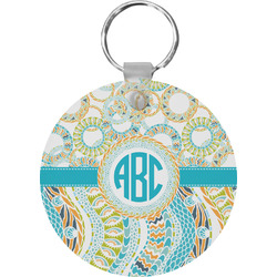 Teal Circles & Stripes Keychains - FRP (Personalized)