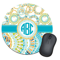 Teal Circles & Stripes Round Mouse Pad (Personalized)