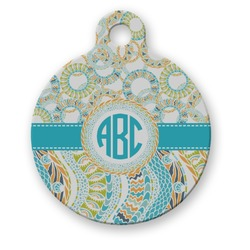 Teal Circles & Stripes Round Pet Tag (Personalized)
