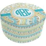 Teal Circles & Stripes Round Pouf Ottoman (Personalized)