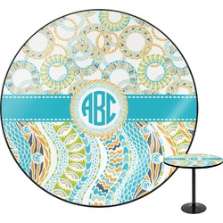 Teal Circles & Stripes Round Table (Personalized)