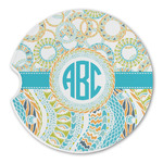 Teal Circles & Stripes Sandstone Car Coasters (Personalized)