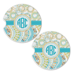 Teal Circles & Stripes Sandstone Car Coasters - Set of 2 (Personalized)