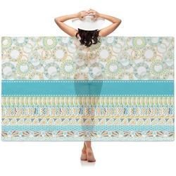 Teal Circles & Stripes Sheer Sarong (Personalized)