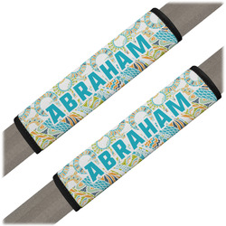 Teal Circles & Stripes Seat Belt Covers (Set of 2) (Personalized)