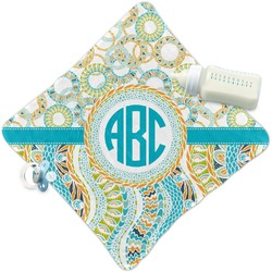 Teal Circles & Stripes Security Blanket (Personalized)