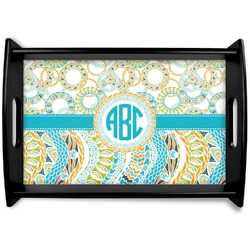 Teal Circles & Stripes Black Wooden Tray (Personalized)