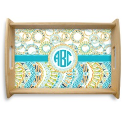 Teal Circles & Stripes Natural Wooden Tray (Personalized)