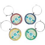 Teal Circles & Stripes Wine Charms (Set of 4) (Personalized)