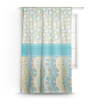 Teal Circles & Stripes Sheer Curtains (Personalized)
