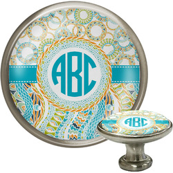 Teal Circles & Stripes Cabinet Knobs (Personalized)