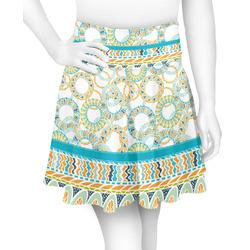 Teal Circles & Stripes Skater Skirt (Personalized)
